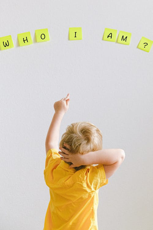 Boy Pointing At Sticky Notes On The Wall