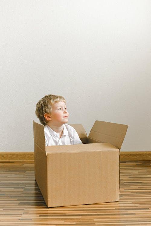 Boy In White Shirt Sitting Inside Brown Cardboard Box