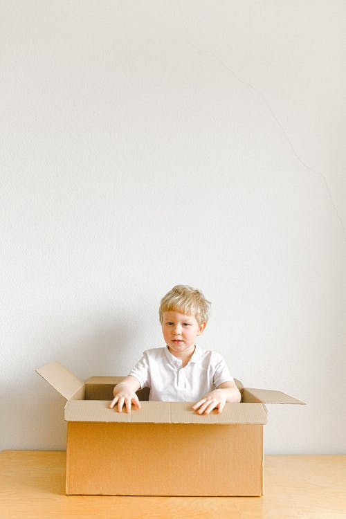 Boy In White Dress Shirt Sitting In Brown Cardboard Box