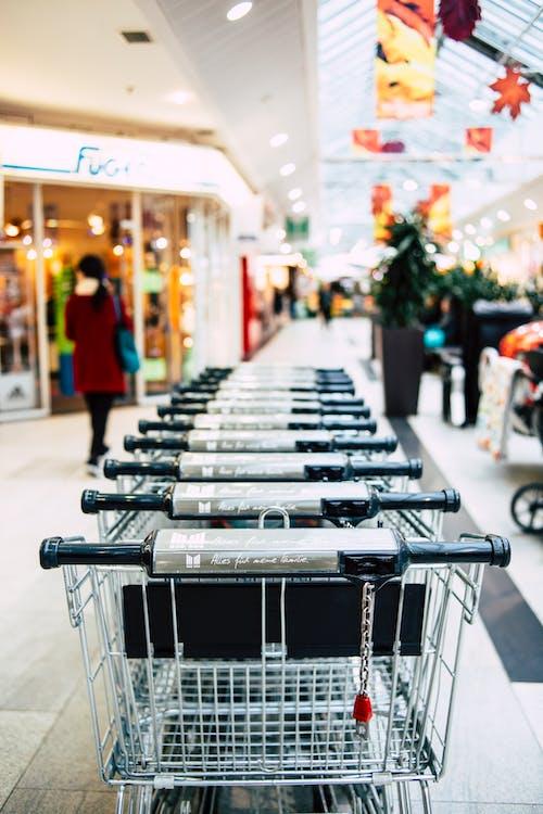 Základová fotografie zdarma na téma kočárky, nákupní vozíky, obchodní dům, uvnitř