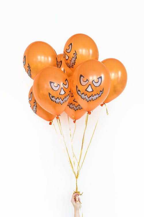 Orange Balloons on White Background