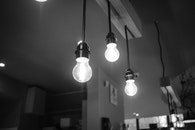 black-and-white, lights, glass