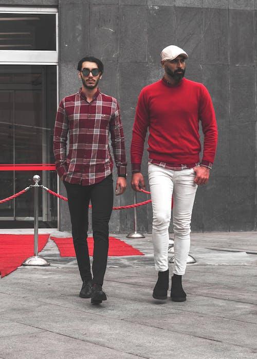Men Wearing Red Clothing Walking