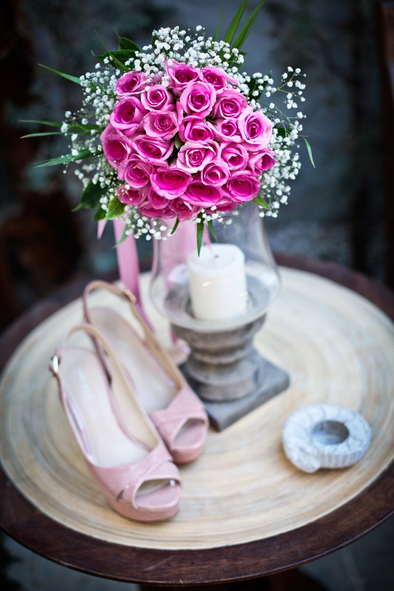 Free stock photo of shoes, flower, bouquet, pink