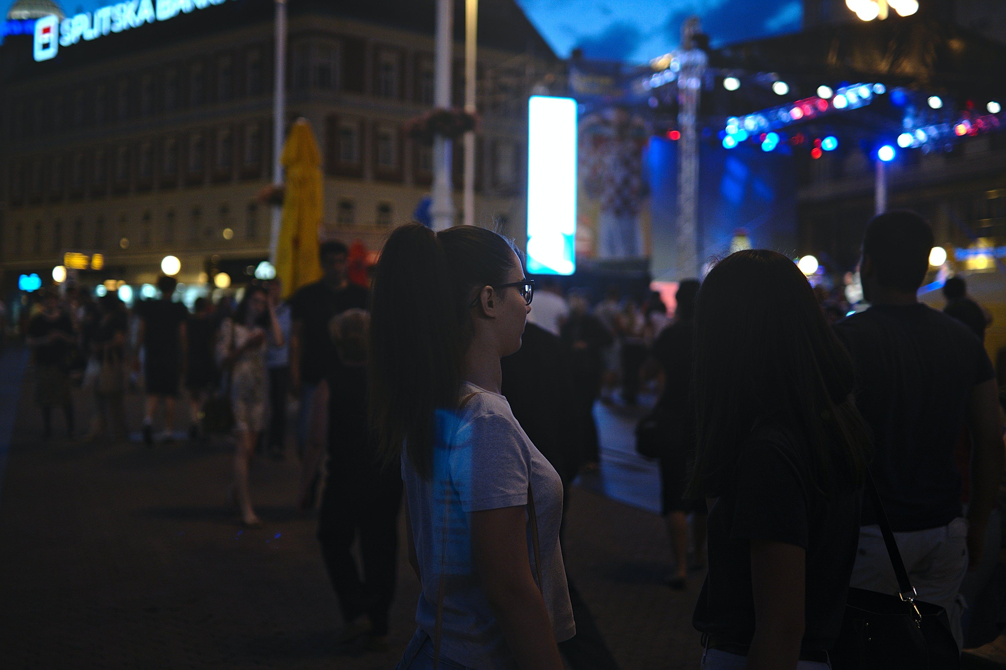 Free stock photo of bokeh, city, dark, girl