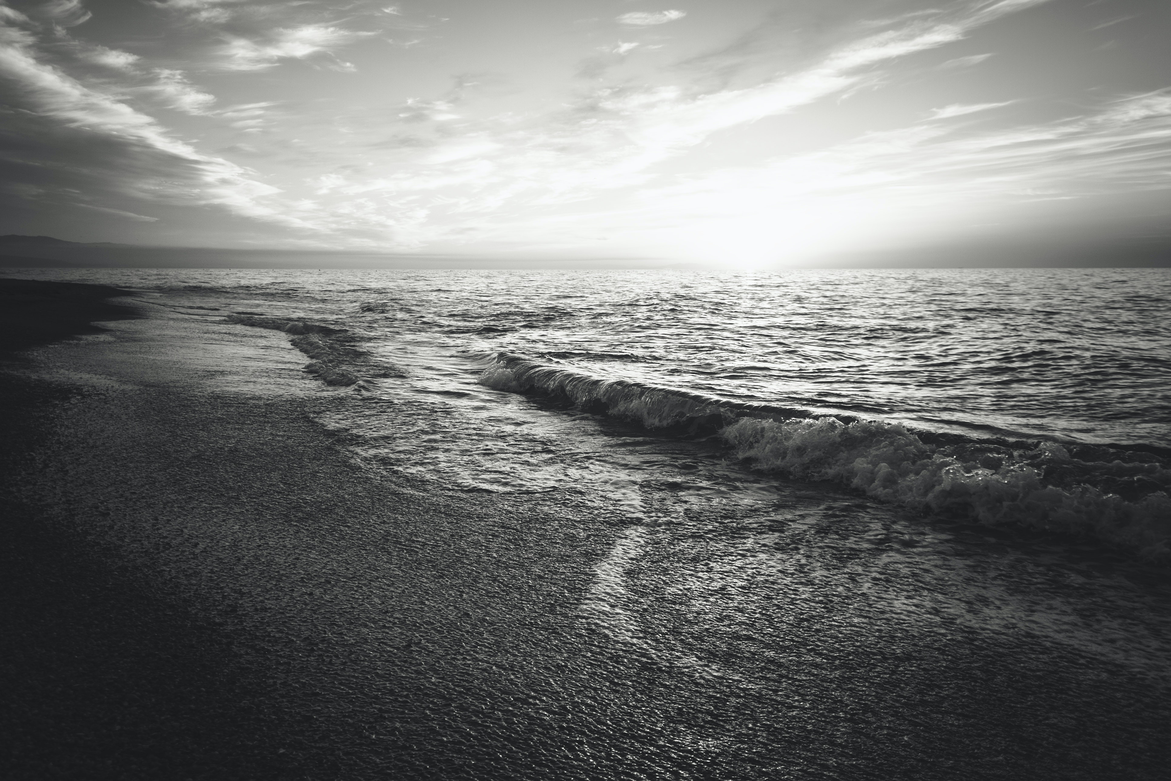 Grayscale Photo Of Ocean Free Stock Photo