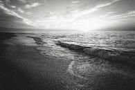 sea, black-and-white, sunset