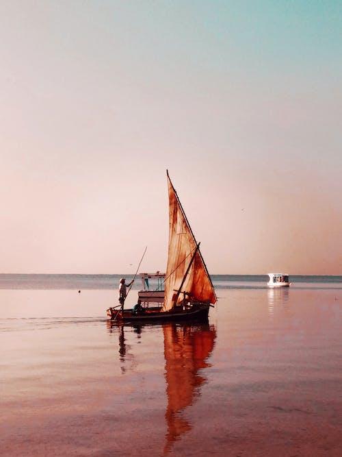 Brown Sail Boat on Sea