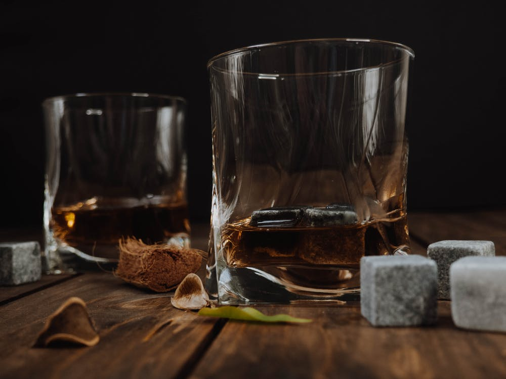 Clear Drinking Glass With Whiskey