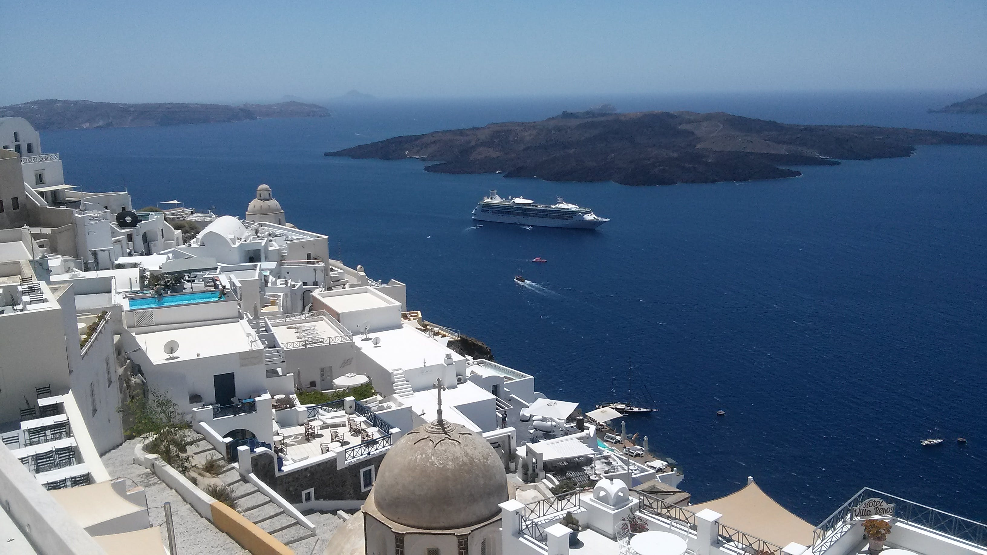 Free stock photo of #santorini #ship #greece
