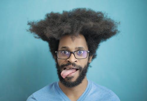 Photos gratuites de afro, arrière-plan bleu, cheveux afro