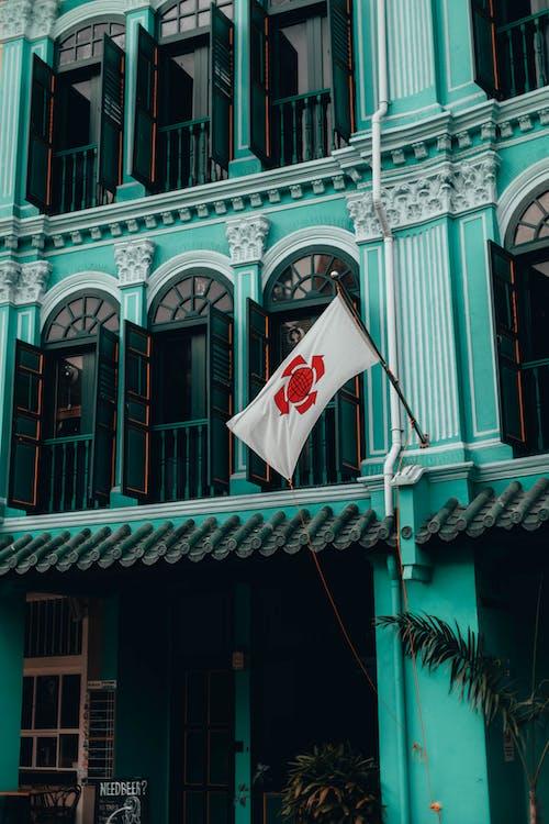 Kostnadsfri bild av arkitektur, dörr, flagga, fönster