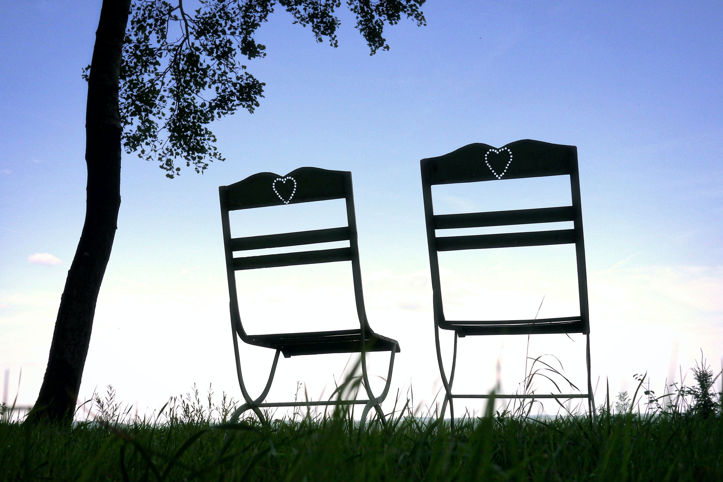 Free stock photo of blue sky, chairs, love