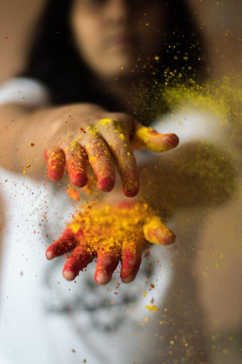 Hands Covered With Powder