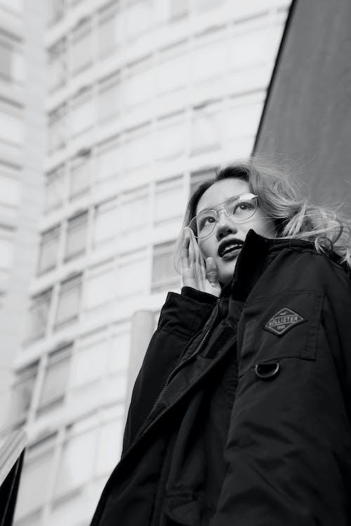 Monochrome Photo Of Woman Wearing Jacket