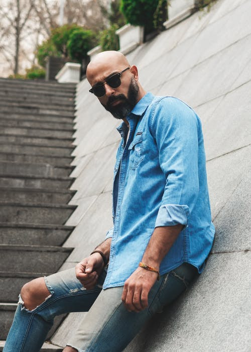 Photo Of Man Wearing Blue Denim Dress Shirt