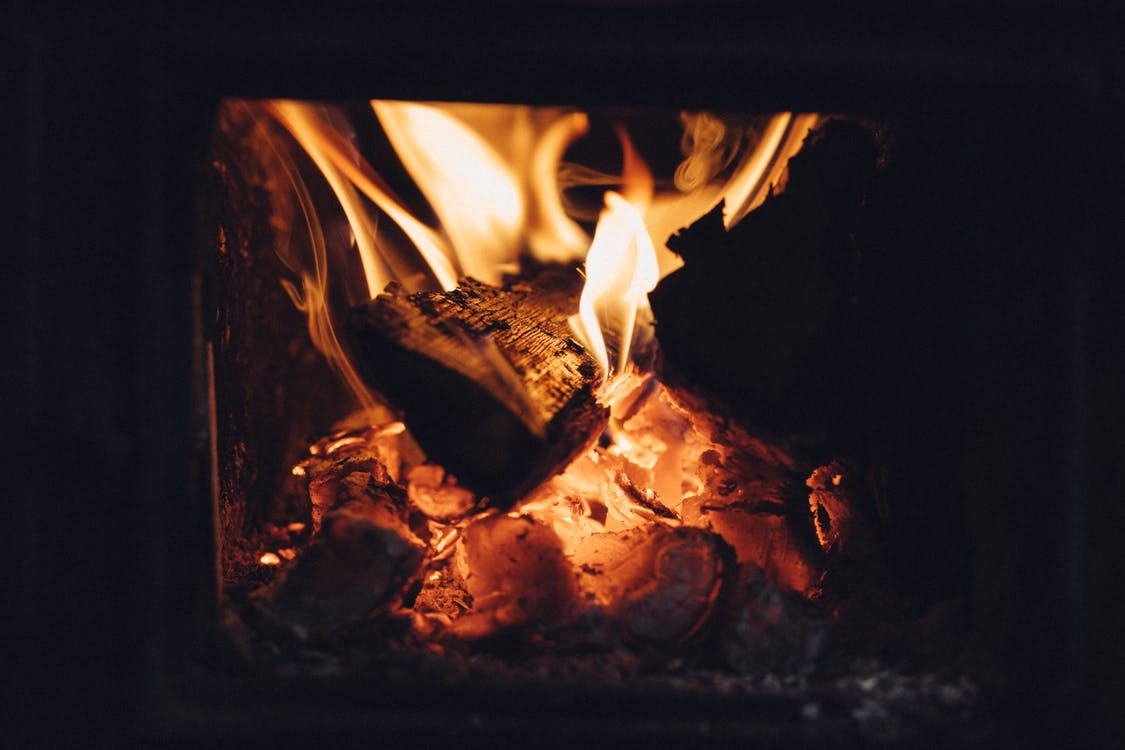 Yellow Fire on Fireplace