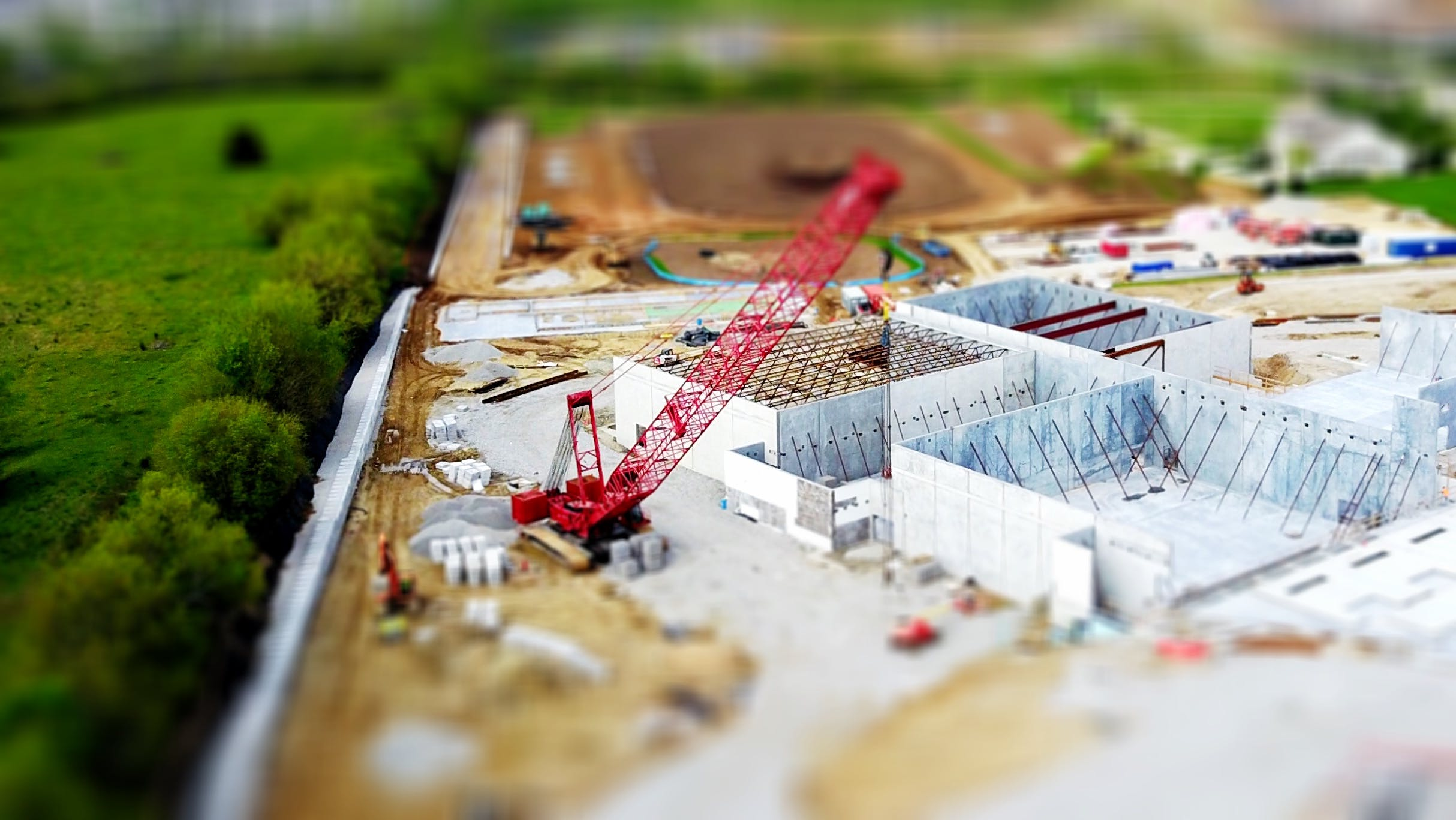 Tilt Shift Lens Photography of Red Crane Miniature