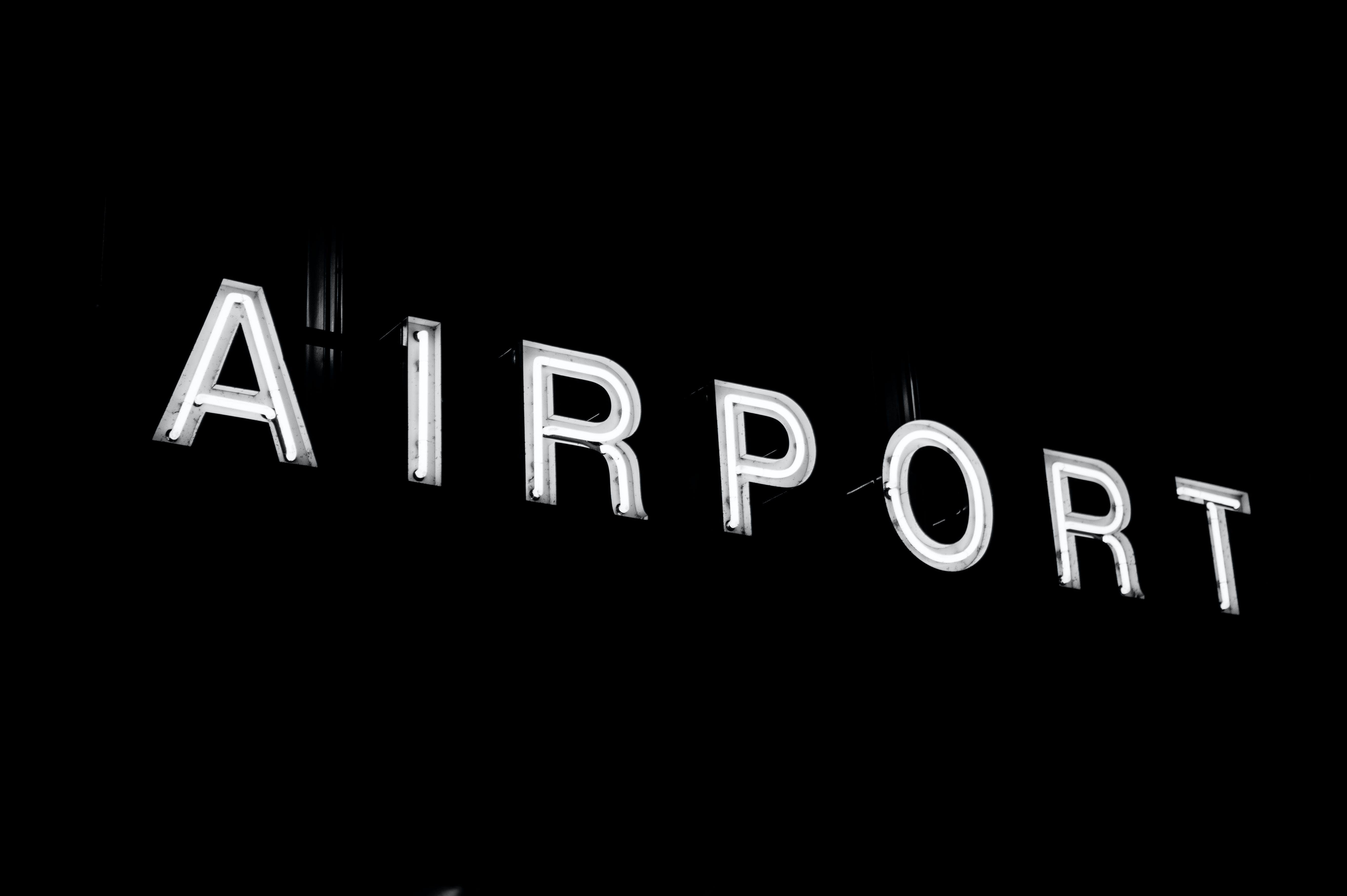 airport, illuminated area, neon