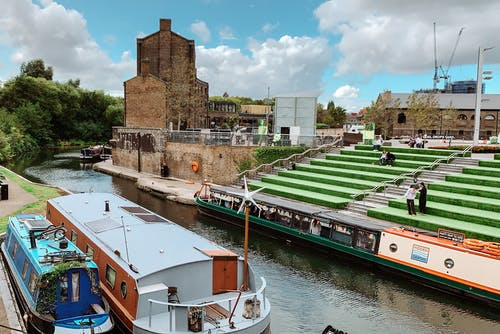 Free stock photo of blue sky, boat, canal