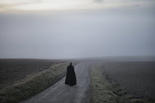 Person in Black Coat Walking on Pathway