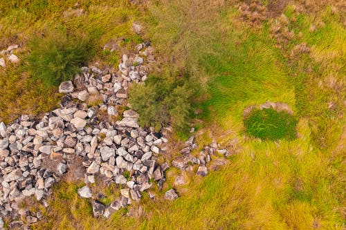 Aerial Shot Of Grass Field And Rocks