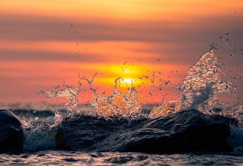 Бесплатное стоковое фото с HD-обои, брызги воды, вода, восход