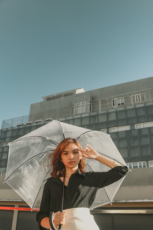 Woman Holding A Clear Umbrella