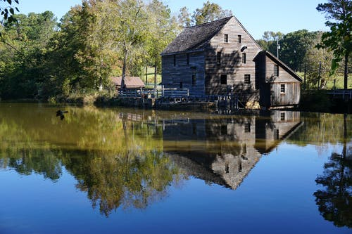Free stock photo of mill, pond, reflection