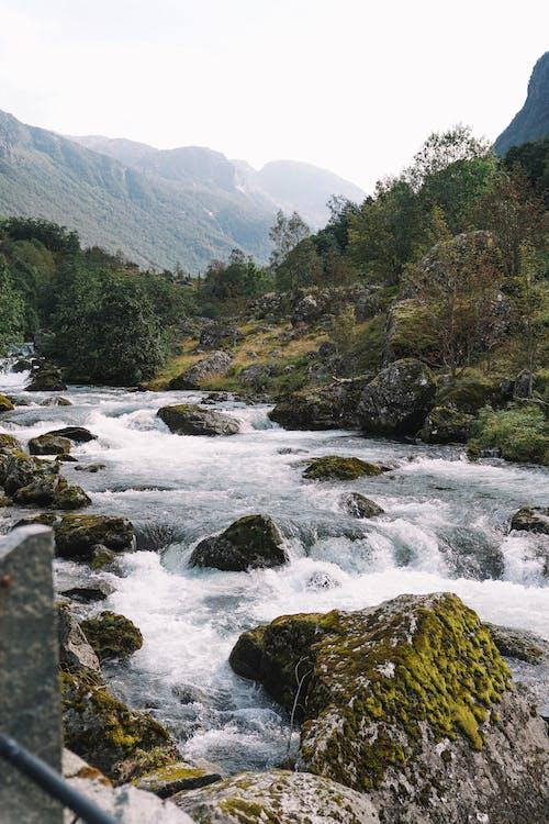 Water Flowing Between Mountains