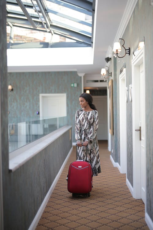 Woman In Long Sleeve Dress With A Luggage