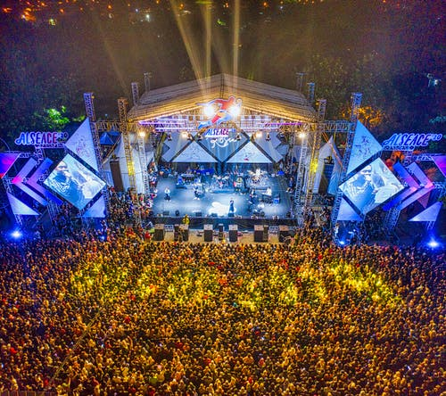 Aerial Shot Of People Watching A Concert