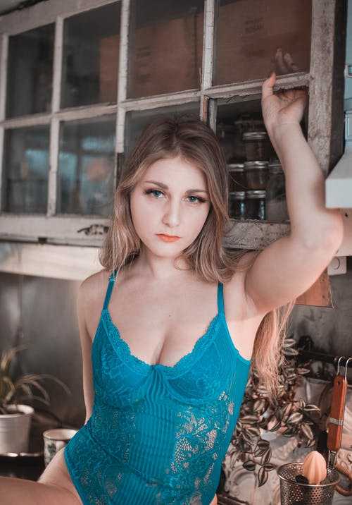 Woman In A Teal Lingerie