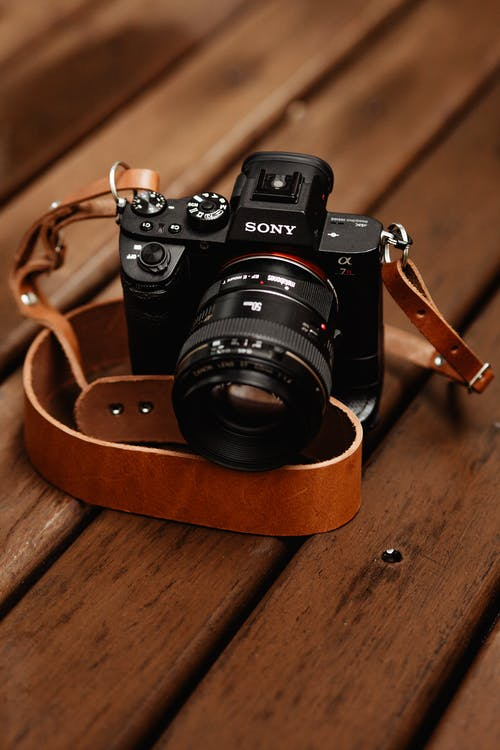 Black Camera With Brown Leather Strap