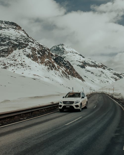 White Suv On The Road Near Snow Covered Mountain