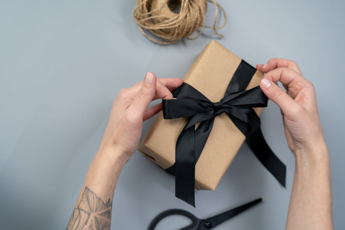 Brown Gift Box With Black Ribbon