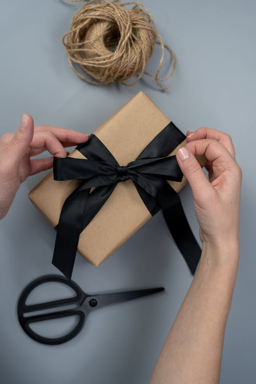 Brown Gift Box With Black Ribbon