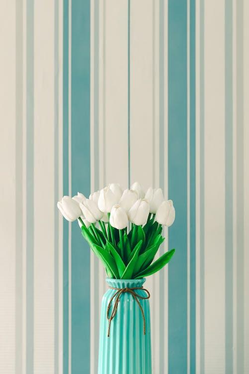 White Tulips in Blue Ceramic Vase