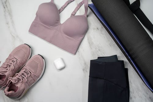 Womens Pink Bra on White Table