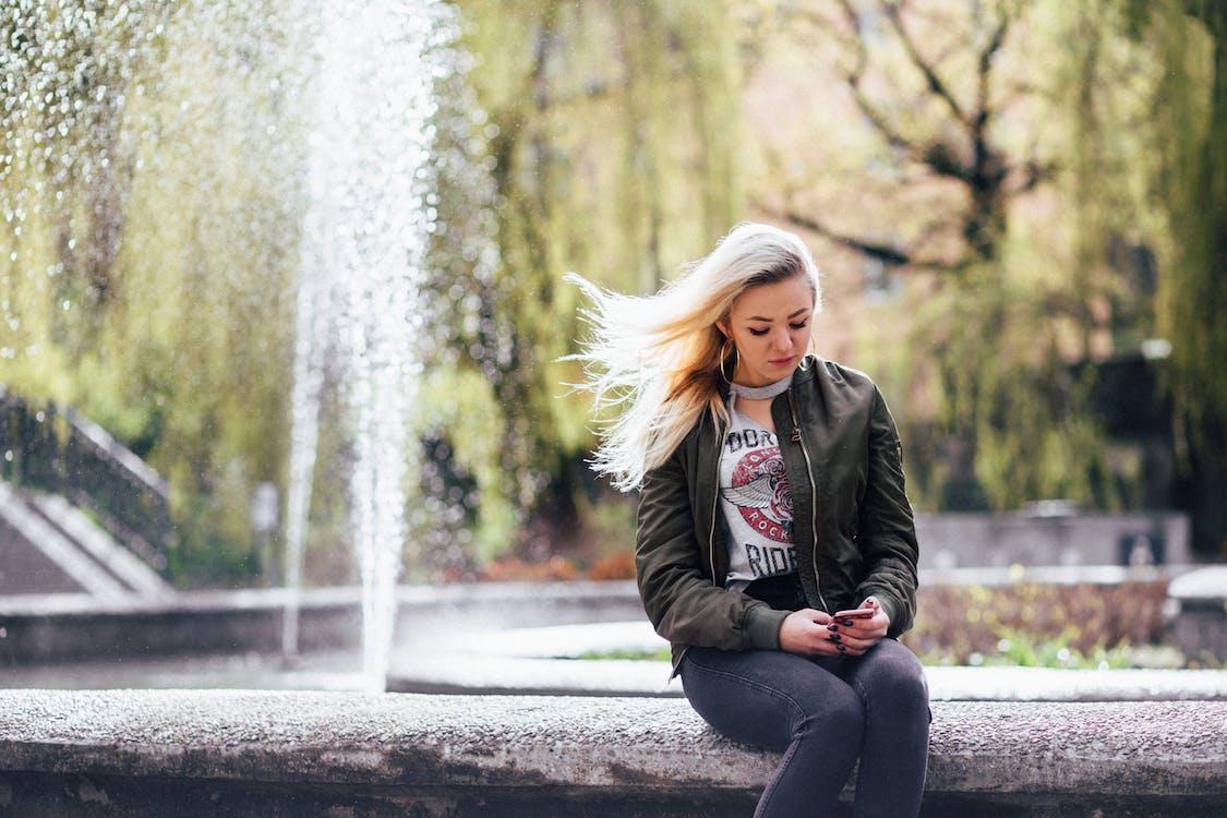 blond, dagslys, fontene