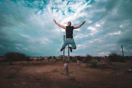 Free stock photo of boy, jumping, ocf, skies