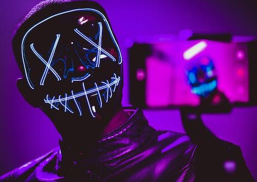 Free stock photo of boy, dark, glow, selfie