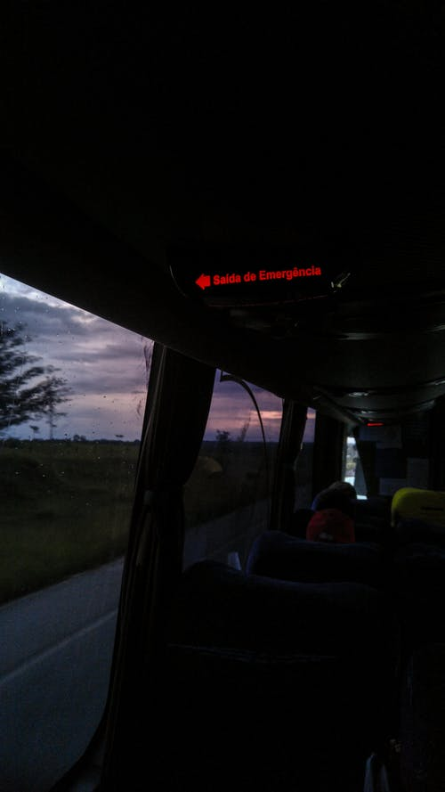Free stock photo of beautiful landscape, bus, bus ride, emergency exit