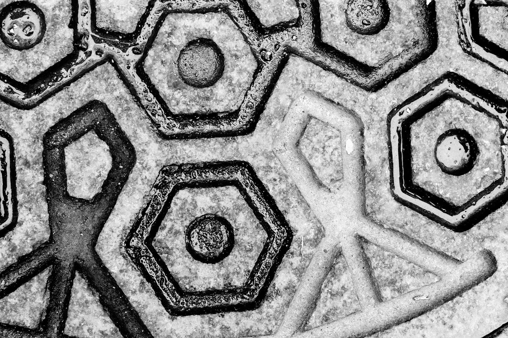Free stock photo of concrete, monochrome photography, mosaic pattern