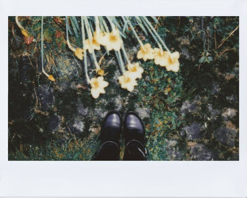 Polaroid Photo Of Person's Feet Near Flowers