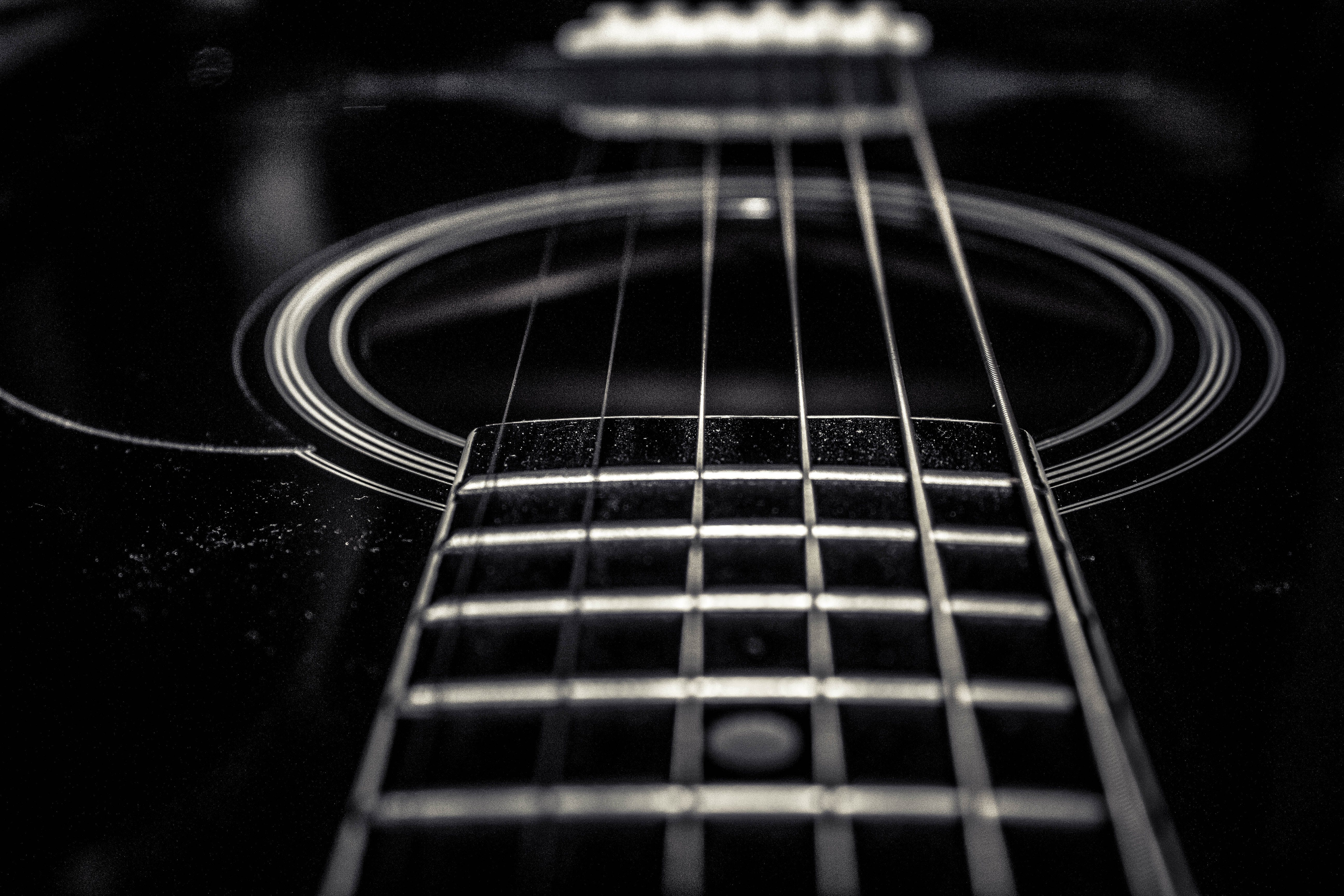 Free stock photo of music, black and white, acoustic guitar, guitar strings