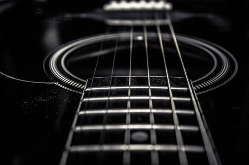 Free stock photo of black and white, guitar strings, music