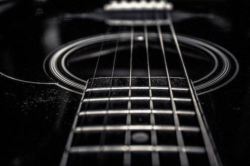 Fotos de stock gratuitas de blanco y negro, cuerdas de guitarra, música
