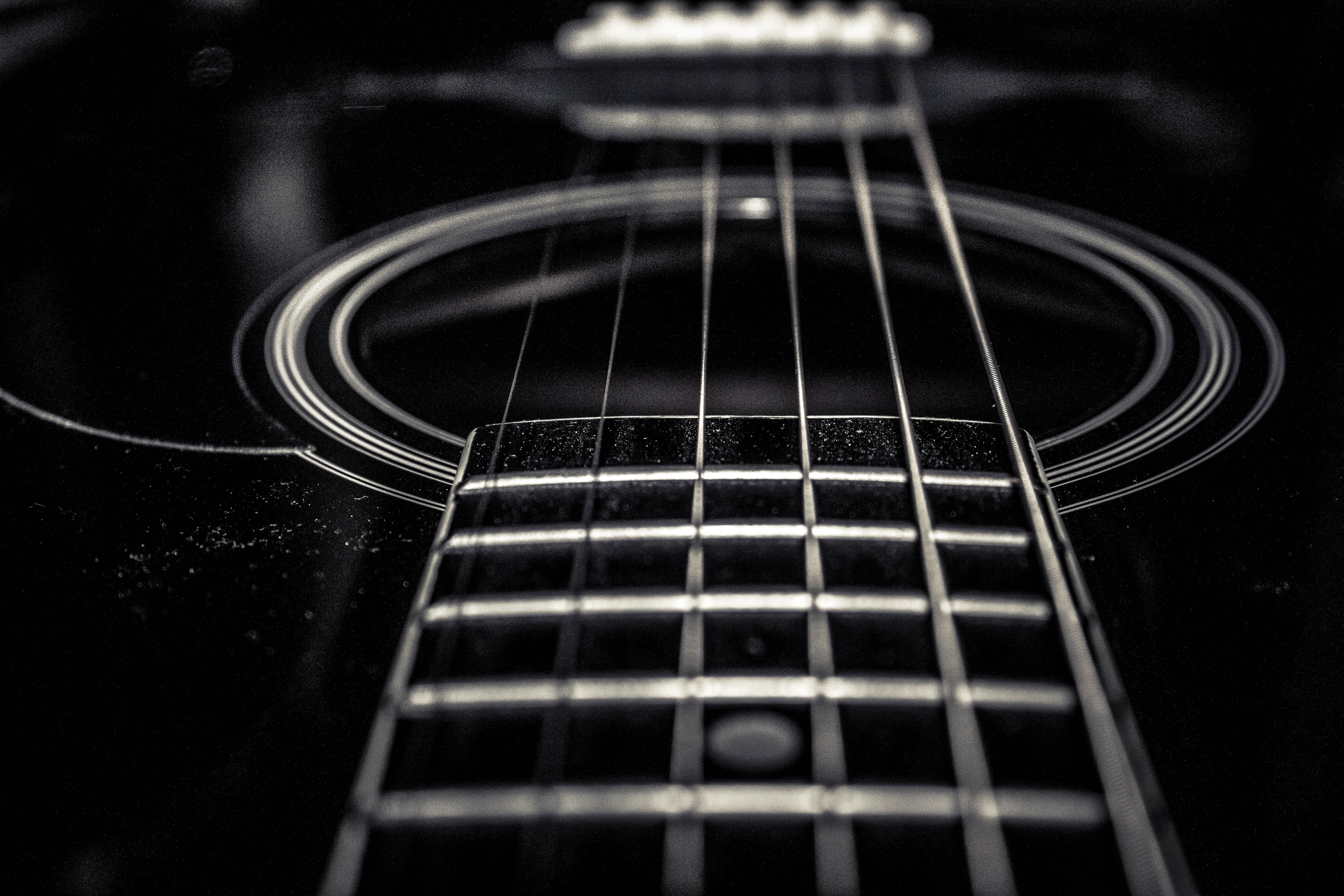 Free Stock Photo Of Acoustic Guitar Black And White Guitar Strings