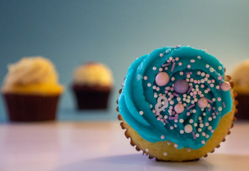 Free stock photo of Blue cupcake, candy, cupcake